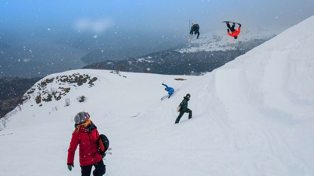 Collage of multiple skiers and riders sporting Oakley gear