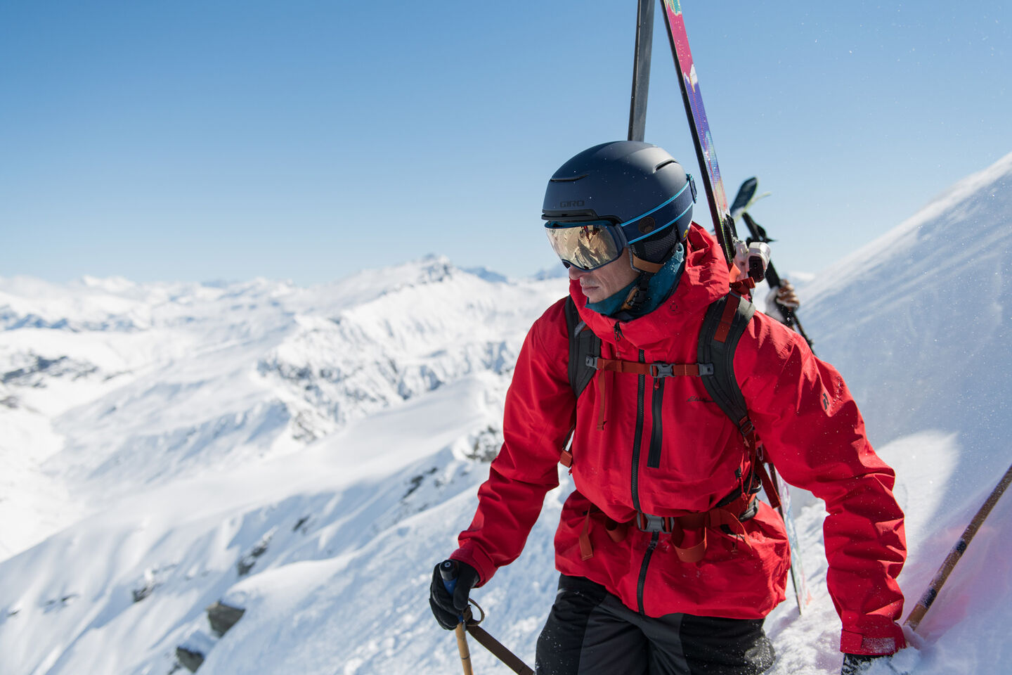 Skier ready for another amazing decent, eying up his line through Giro goggles